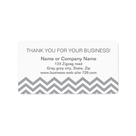 Business thank you address labels, grey chevron