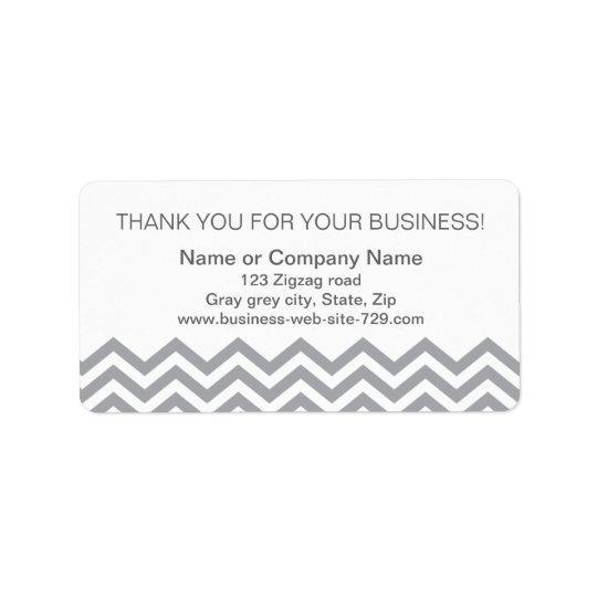 Business thank you address labels, grey chevron label