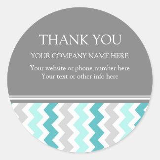 Business Thank You Company Name Aqua Chevron Round Sticker