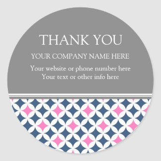 Business Thank You Company Name Blue Pink Pattern Round Sticker