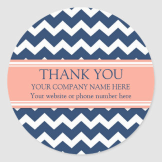 Business Thank You Company Name Coral Blue Chevron Round Sticker