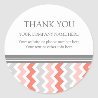 Business Thank You Company Name Coral Chevron Round Sticker