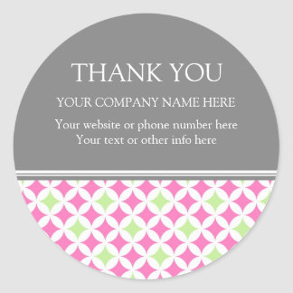 Business Thank You Company Name Lime Pink Pattern Round Sticker