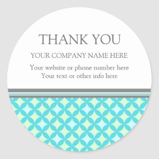 Business Thank You Company Name Mint Teal Pattern Round Sticker