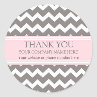 Business Thank You Company Name Pink Grey Chevron Round Sticker