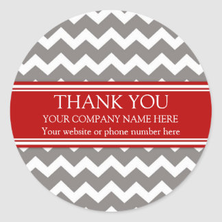 Business Thank You Company Name Red Grey Chevron Classic Round Sticker