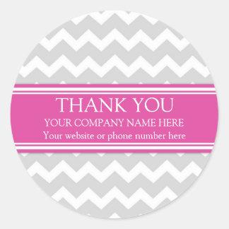 Business Thank You Company Pink Grey Chevron Round Sticker