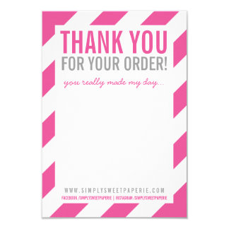"BUSINESS THANK YOU NOTE bold bright stripe pink 3.5"" X 5"" Invitation Card"
