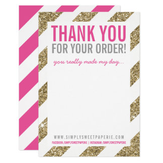 "BUSINESS THANK YOU NOTE stripe gold glitter pink 3.5"" X 5"" Invitation Card"