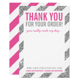 "BUSINESS THANK YOU NOTE stripe silver glitter pink 3.5"" X 5"" Invitation Card"