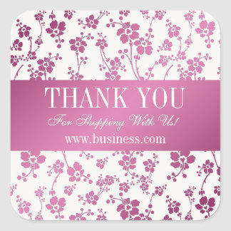Business Thank You Salon Floral Pink Square Sticker