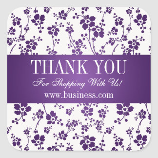 Business Thank You Salon Floral Purple Square Sticker