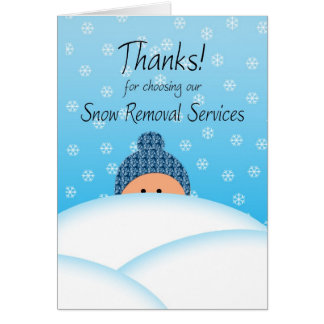 Business Thanks Customer Snow Plow services Card