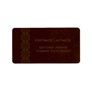 Business Vintage Fractal Polygons Brown v2 Label