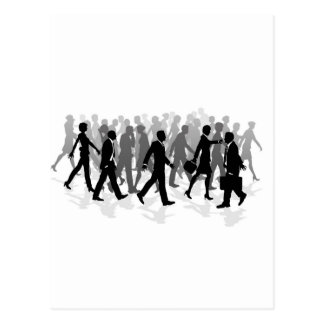 Business walking crowd rushing people postcard