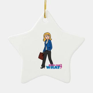 Business Woman - Light/Blonde Ceramic Star Ornament