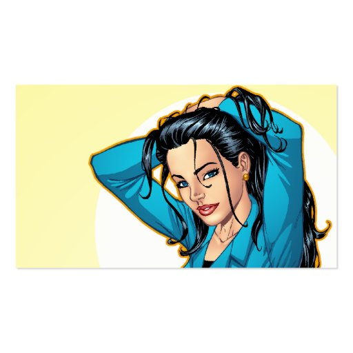 Business Woman Pulling Her Hair Up and Ready to Go Business Card