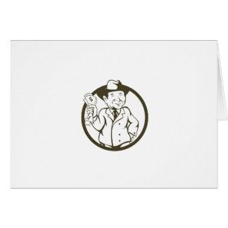 Businessman Fedora Hat Bank Notes Circle Cartoon