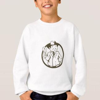 Businessman Fedora Hat Bank Notes Circle Cartoon Sweatshirt