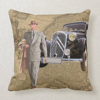Businessman Map of Europe and Car Throw Pillow