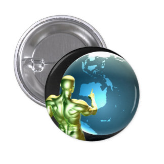 Businessman Pointing at Australia or New Zealand 1 Inch Round Button