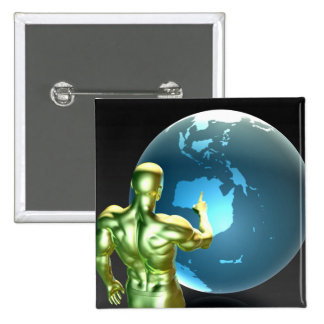 Businessman Pointing at Australia or New Zealand 2 Inch Square Button