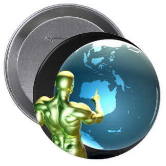 Businessman Pointing at Australia or New Zealand 4 Inch Round Button