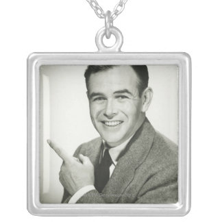 Businessman Pointing Silver Plated Necklace