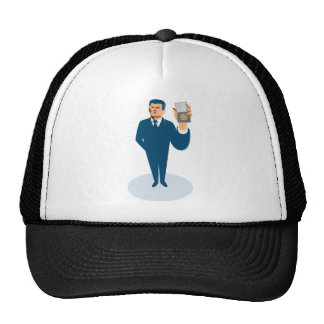 businessman secret agent showing id card badge wal trucker hat