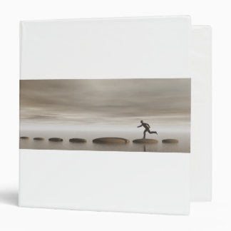 businessman that runs on steps grey - 3D rendering 3 Ring Binders