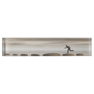 businessman that runs on steps grey - 3D rendering Name Plate
