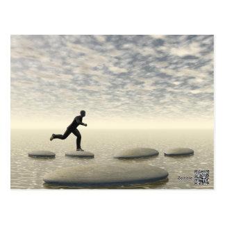 businessman that runs on steps grey - 3D rendering Postcard