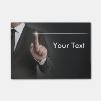 Businessman touchscreen anthracite concept post-it notes