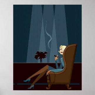 Businesswoman Smoking Cigar Poster