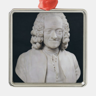 Bust of Francois Marie Arouet de Voltaire  1778 Silver-Colored Square Ornament