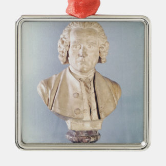 Bust of Jean-Jacques Rousseau Silver-Colored Square Ornament