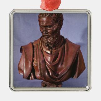 Bust of Michelangelo Buonarroti Silver-Colored Square Ornament