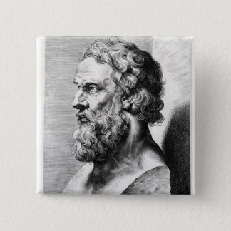 Bust of Plato engraved by Lucas Emil 2 Inch Square Button