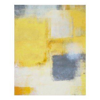 'Busted' Grey and Yellow Abstract Art Poster Print