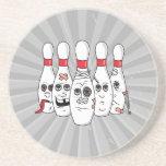 busted up injured bowling pins cartoon