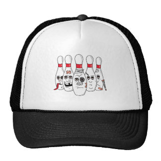 busted up injured bowling pins cartoon trucker hat