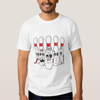 busted up injured bowling pins cartoon tshirts