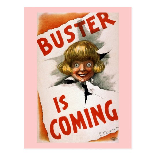 Buster is Coming Vintage Theatre Poster Postcard