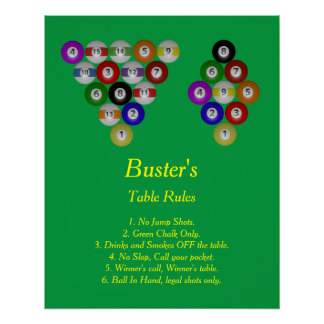 Buster's Billiard House Table Rules Poster