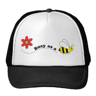 Busy as a Bee Happy Bees and Flowers Cartoon Trucker Hat