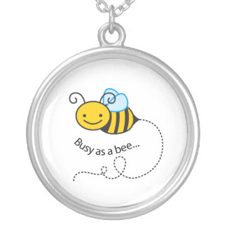 Busy as a  bee silver plated necklace