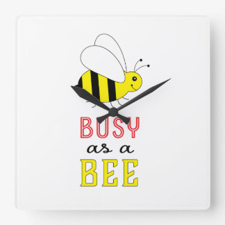 Busy as a Bee Square Wall Clock