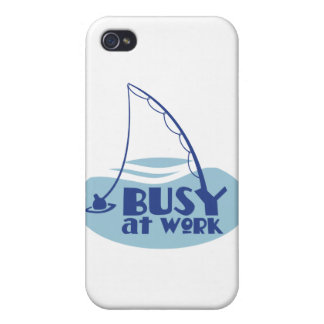 Busy at Work with fishing rod in the water iPhone 4 Cover