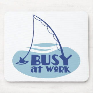 Busy at Work with fishing rod in the water Mouse Pad