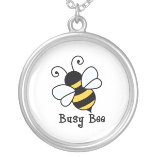 Busy bee2 silver plated necklace